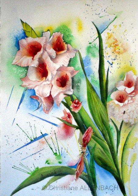 CHRISTIANE ALLENBACH FLOWERS IN MY GARDEN 30 x 40 cm