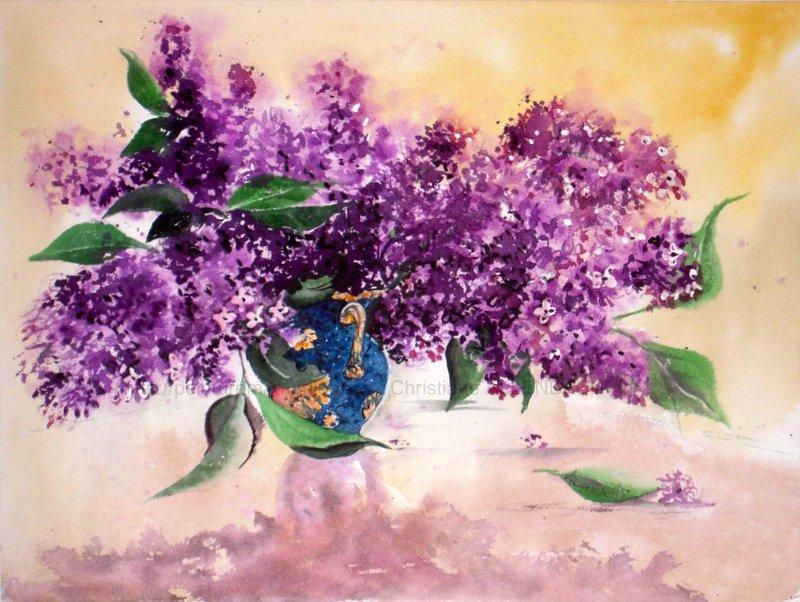 Pas pas aquarelle lilas christiane allenbach artiste - Dessin de lilas ...