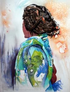 CHRISTIANE ALLENBACH   FEMME MYRTILLES sur ARCHES 36 x 51 cm   2014