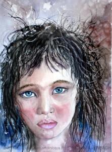 CHRISTIANE ALLENBACH | JEUNE FILLE PENSIVE POUR CADRE 40 x 50 cm