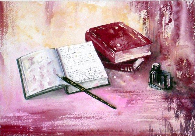 PEINTUREMAMANLOTUS | CHRISTIANE ALLENBACH | LIVRES ENCRIER PLUME  POUR CADRE 30 x 40
