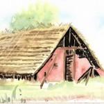 CHRISTIANE ALLENBACH | CROQUIS AQUARELLE 24,5 x 10,5 sur SENNELIER DEMEURE PERIODE GALLO ROMAINE