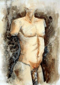 CHRISTIANE ALLENBACH | CROQUIS TECHNIQUE MIXTE CRAYON AQUARELLE HOMME STAT K