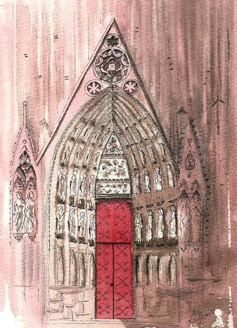 CHRISTIANE ALLENBACH | CROQUIS PORTE CATHEDRALE STRASBOURG