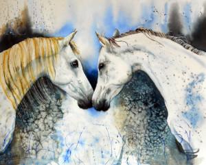 CHRISTIANE ALLENBACH 40 x 50 cm Bisou chevaux