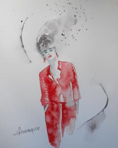 CHRISTIANE ALLENBACH LA MISS EN ROUGE24 x 30 cm