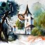 CHRISTIANE ALLENBACH LE CHATEAU OUBLIE 30 x 40 cm
