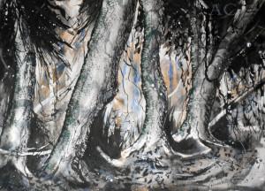 CHRISTIANE ALLENBACH 30 x 40 cm ombre et lianes