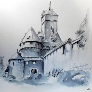 ALLENBACH CHRISTIANE DESSIN PLUME HAUT KOENIGSBOURG 25 x 25 cm