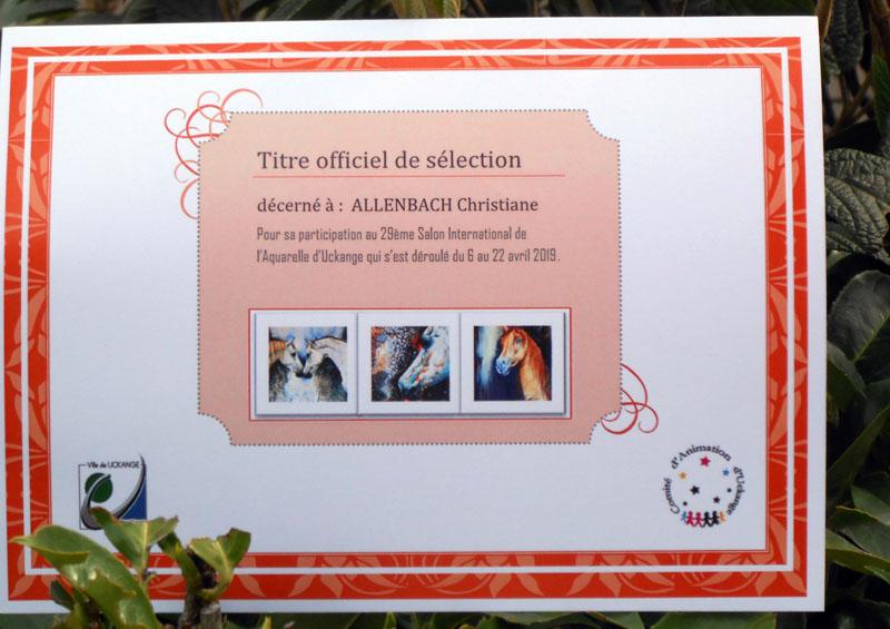 CHRISTIANE ALLENBACH TITRE DE SELECTION UCK 2019