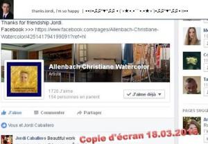 CHRISTIANE ALLENBACH COMPLIMENTS JORDI