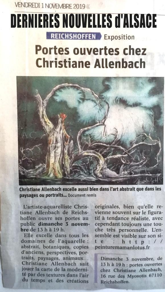 CHRISTIANE ALLENBACH PO 2019 ANNONCE PRESSE ECRITE