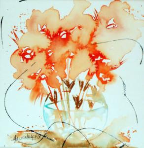 CHRISTIANE ALLENBACH FLEURS SUR CHASSIS 20 x 20 cm