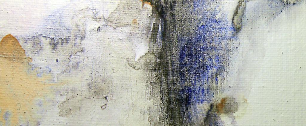 CHRISTIANE ALLENBACH AQUARELLE SUR TOILE AUREOLES ET TRAME TISSUS
